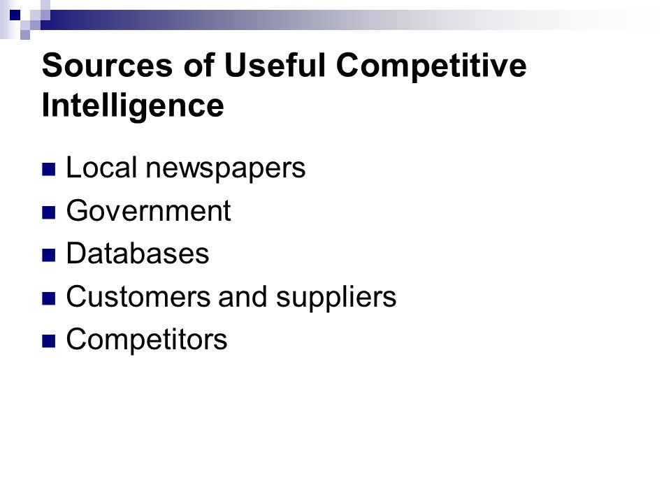 Sources of Useful Competitive Intelligence