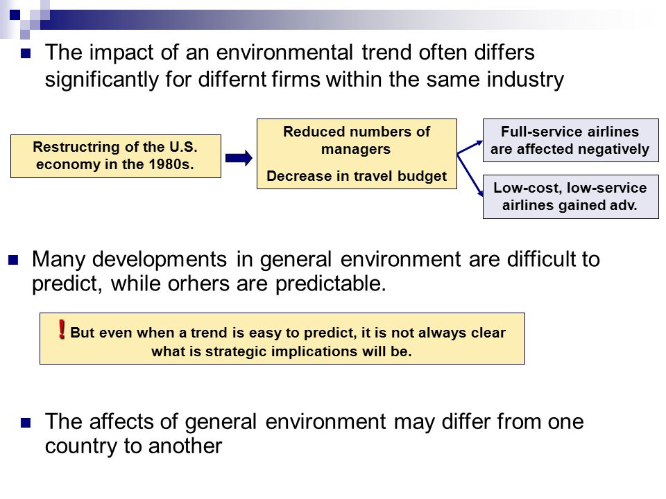The impact of an environmental trend often differs significantly for differnt firms within the same industry