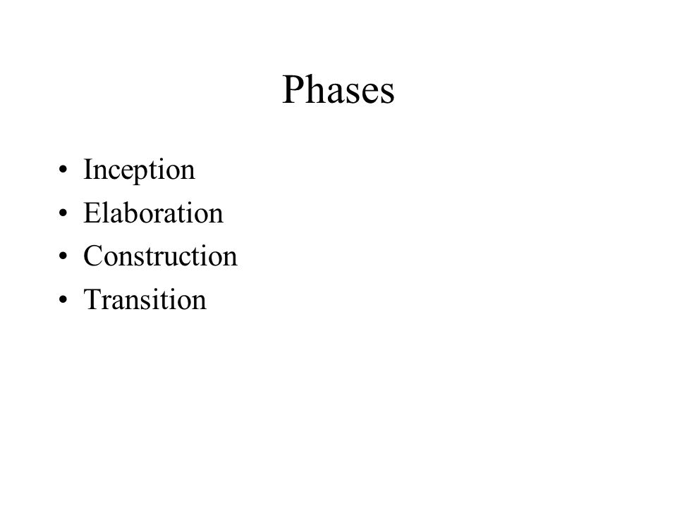 Phases Inception Elaboration Construction Transition