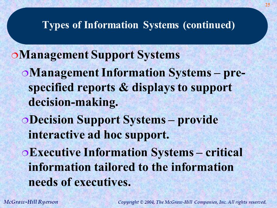 types of management information systems Full-text (pdf) | for the last twenty years, different kinds of information systems are developed for different purposes, depending on the need of the business in.