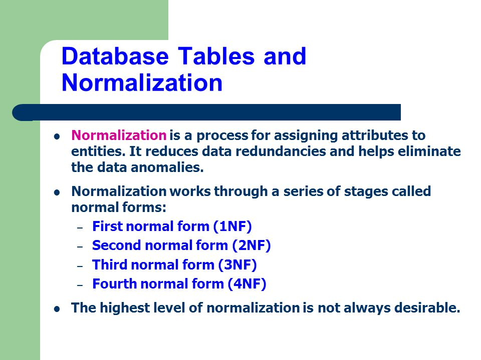 Chapter 5 normalization of database tables ppt video for Table normalization