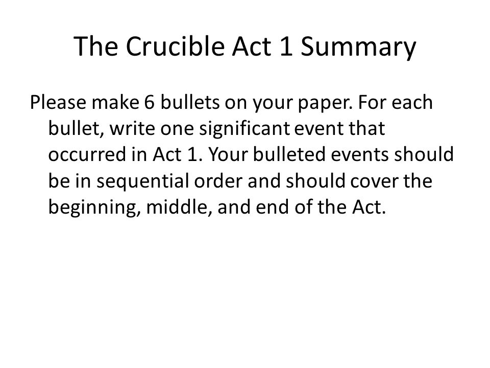 The Crucible Act 1 Summary - ppt download