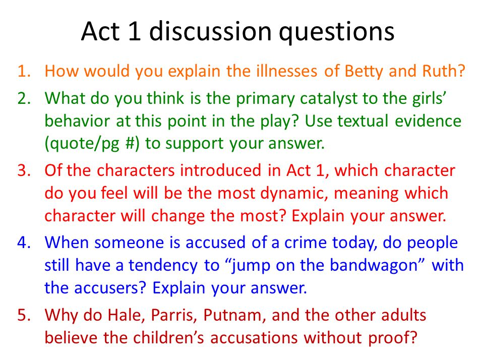 Discussion questions the crucible act