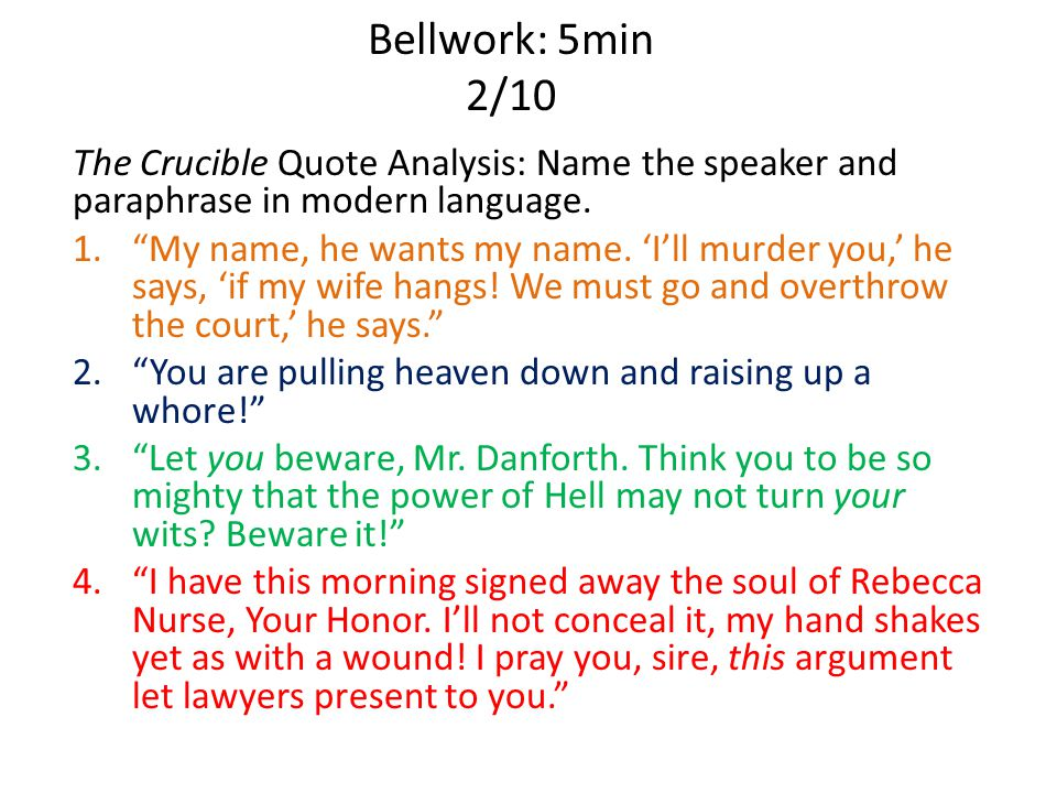 the crucible quote analysis The crucible quotes (theme: reputation) explain how reputation links heavily with the crucible's story as a theme  the crucible character analysis.