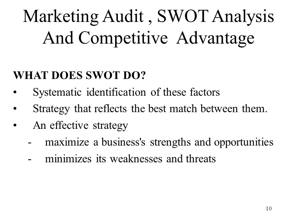 Marketing Audit  Swot Analysis And Competitive Advantage  Ppt