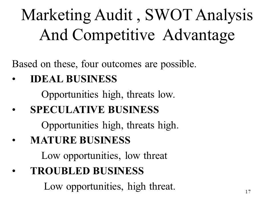 market audit and competitive analysis Swot analysis is a tool for auditing an organization and its environment it is the first stage of planning and helps marketers to focus on key issues it is the first stage of planning and helps marketers to focus on key issues.