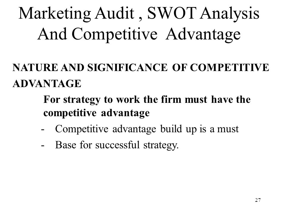 swot analysis a marketing audit Deloitte consulting swot analysis, usp  deloitte are experts in audit  the table above concludes the deloitte consulting swot analysis along with its marketing.