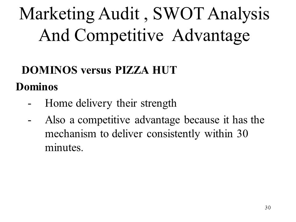 swot audit In strategic management, an internal audit determines the organization's position within its industry this process is essential for building and maintaining a sustainable competitive advantage, and typically consists of at least one, or a combination of, distinct analytical tools.