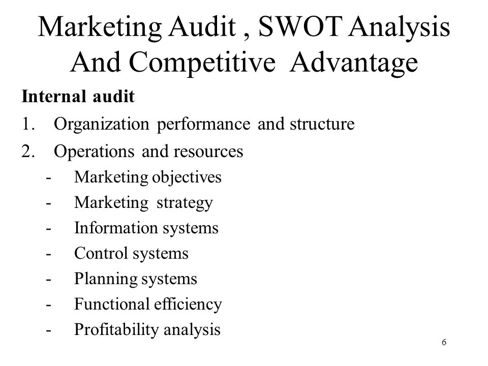 Organisational auditing and analysis of external factors that affects marketing planning