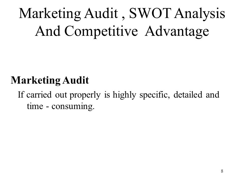market audit and competitive analysis Free essay: market audit and competitive market analysis executive summary  the lack of access to mosquito nets and coils and to sanitation.