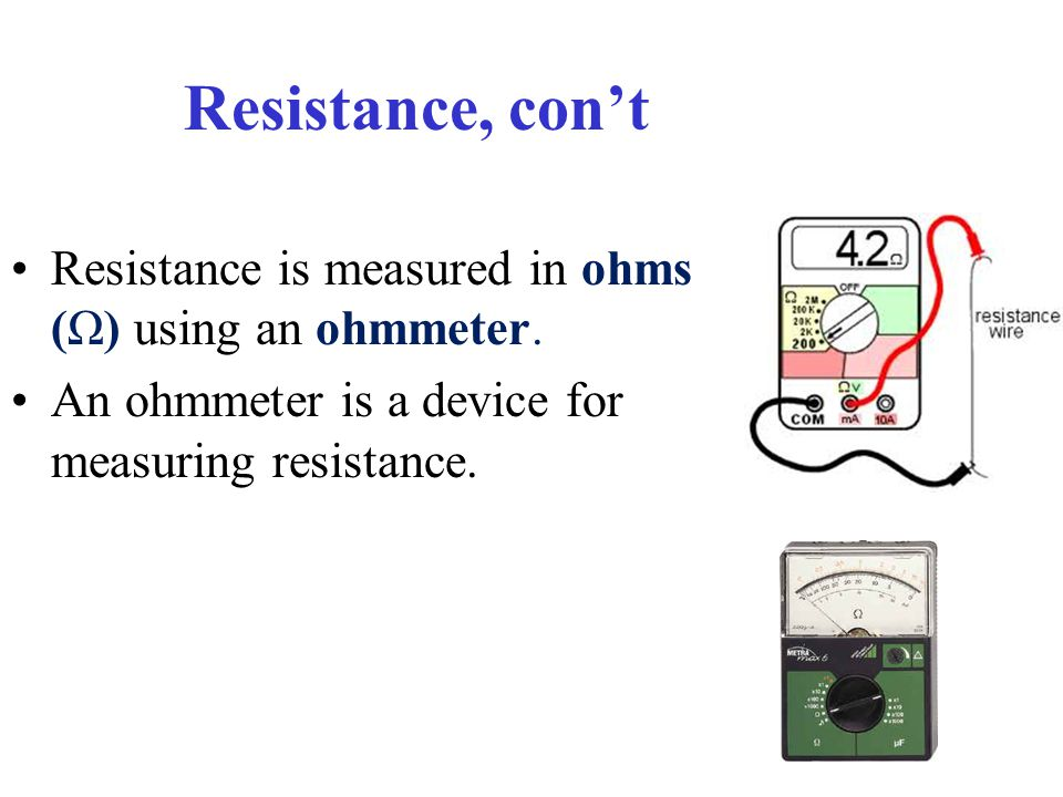 Measuring Resistance With Ohmmeter : Chapter current electricity ppt download