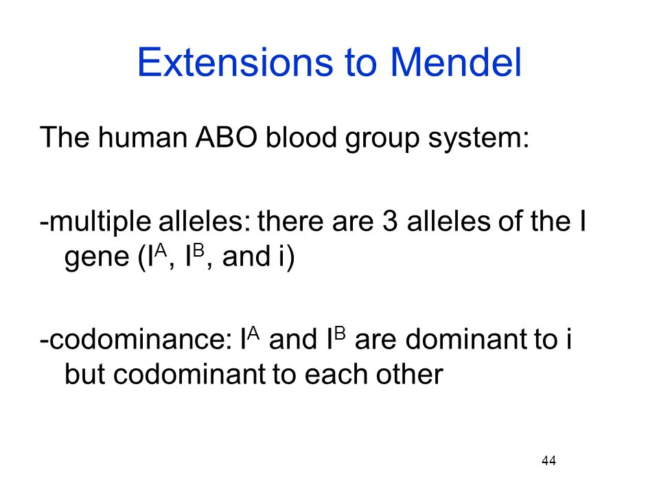 Extensions to Mendel The human ABO blood group system:
