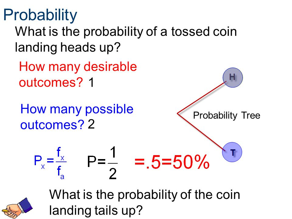Probability What is the probability of a tossed coin landing heads up
