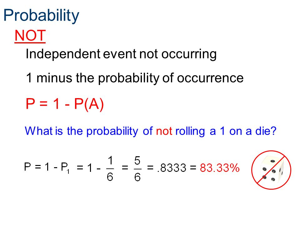 Probability NOT P = 1 - P(A) Independent event not occurring