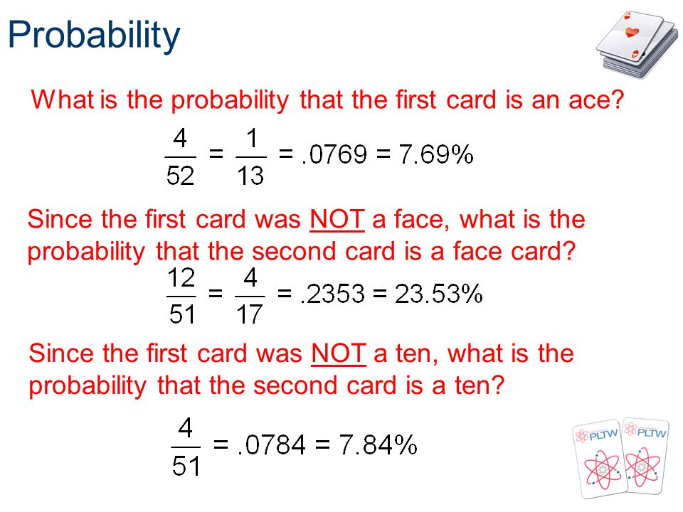 Probability What is the probability that the first card is an ace
