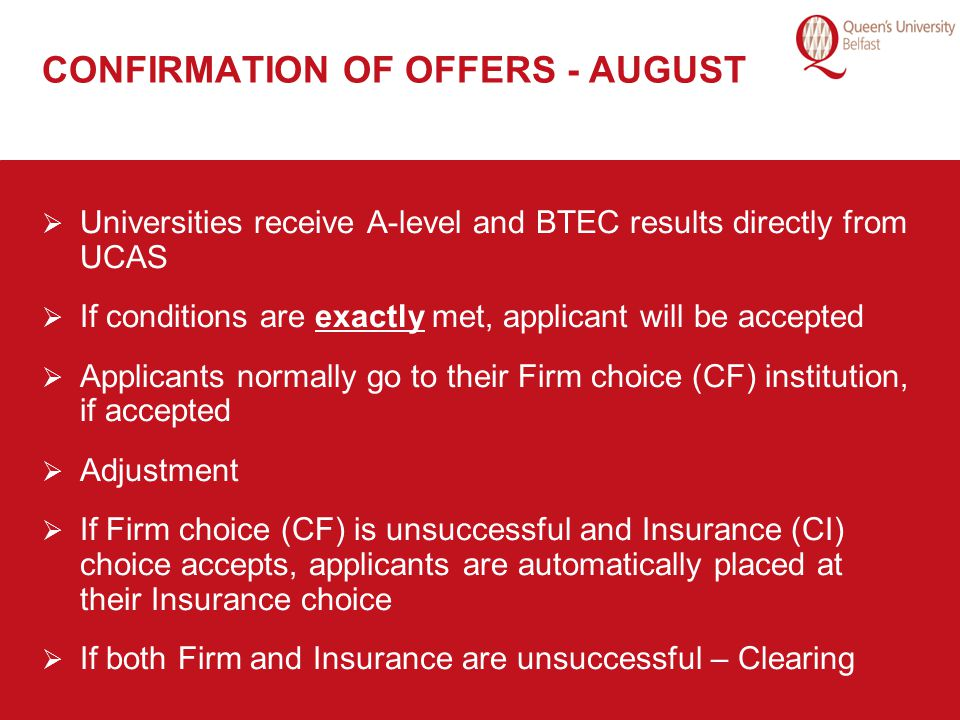 CONFIRMATION OF OFFERS - AUGUST
