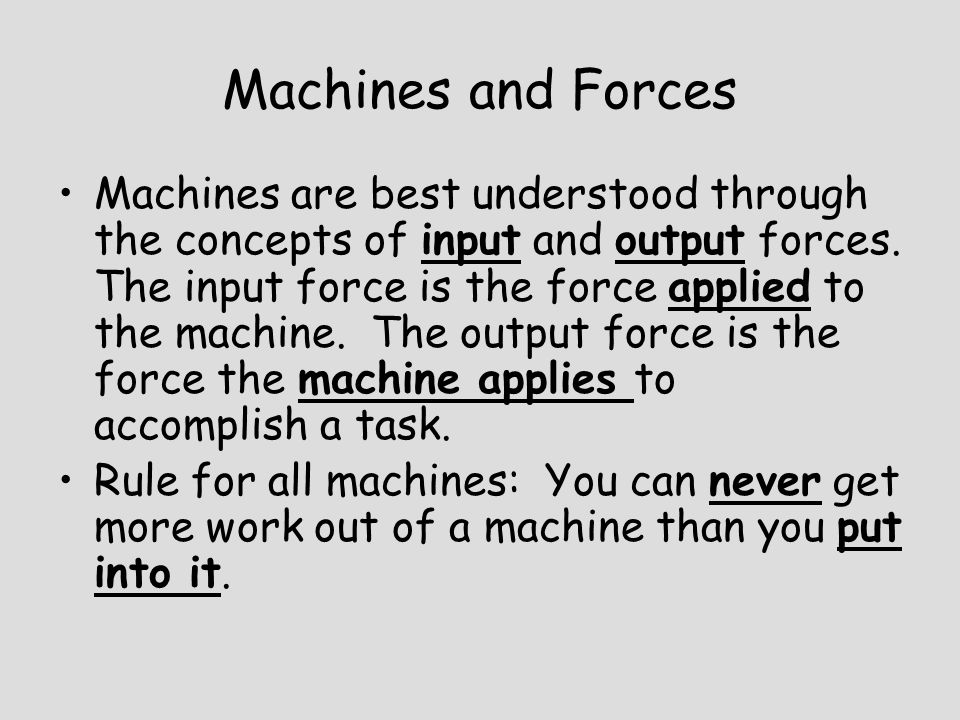 Machines and Forces