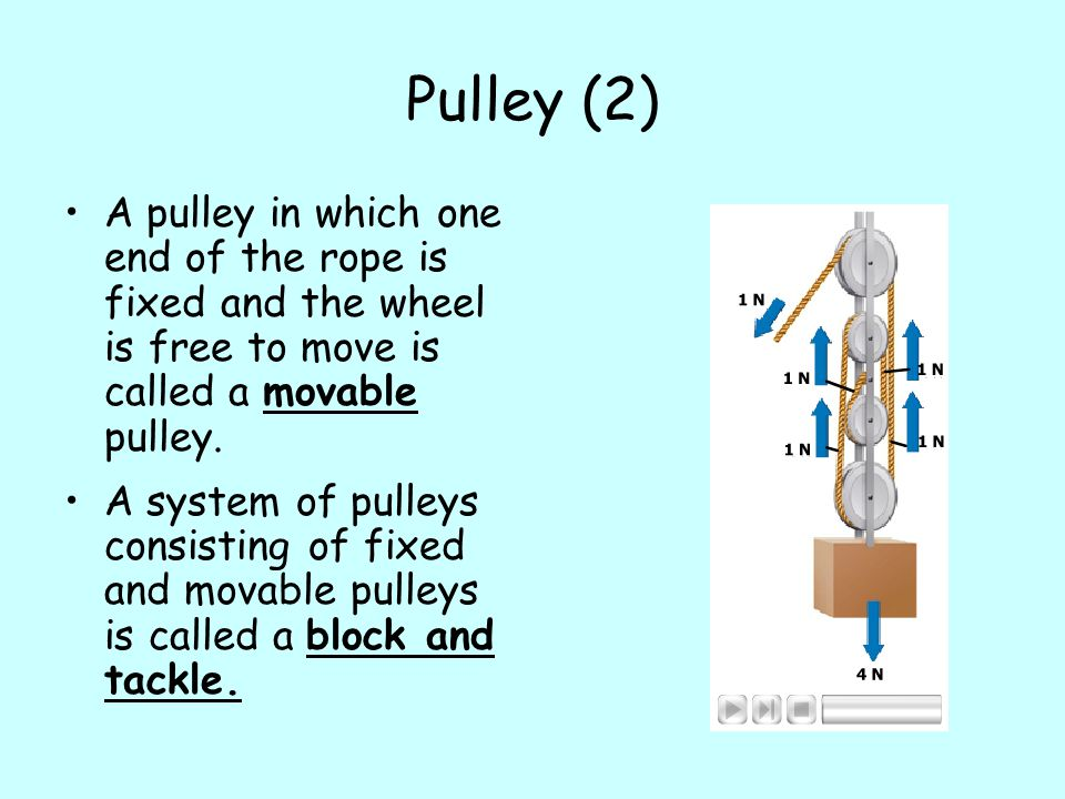 Pulley (2) A pulley in which one end of the rope is fixed and the wheel is free to move is called a movable pulley.
