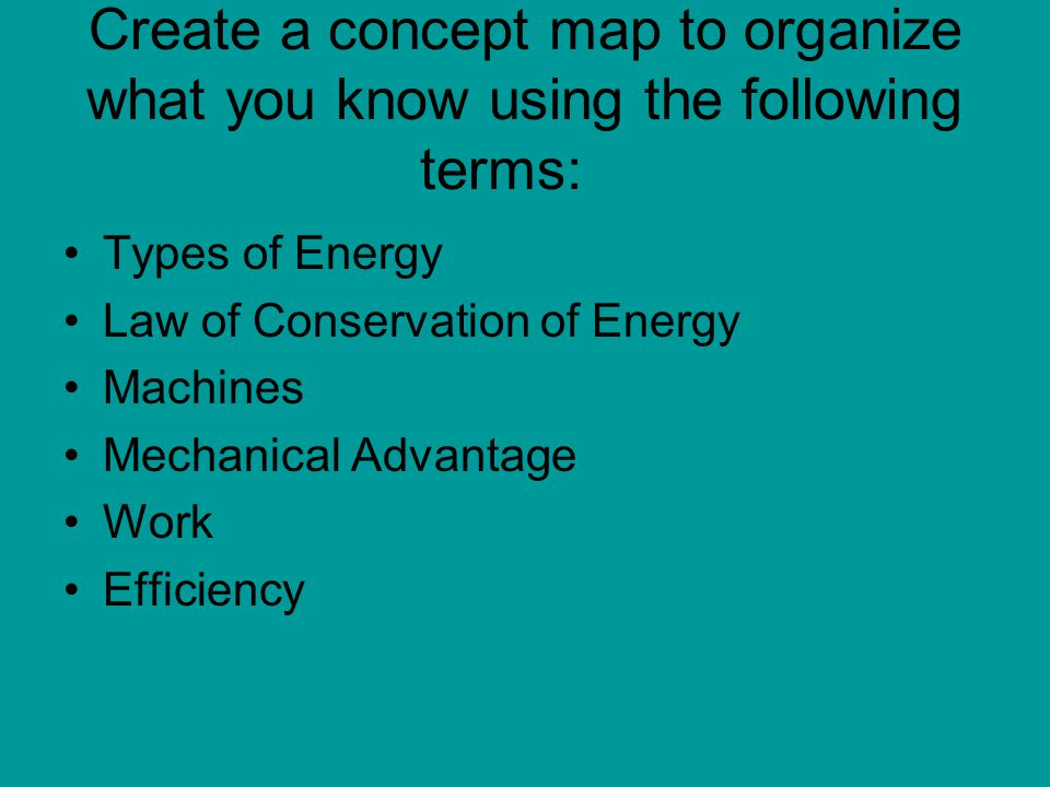 Create a concept map to organize what you know using the following terms: