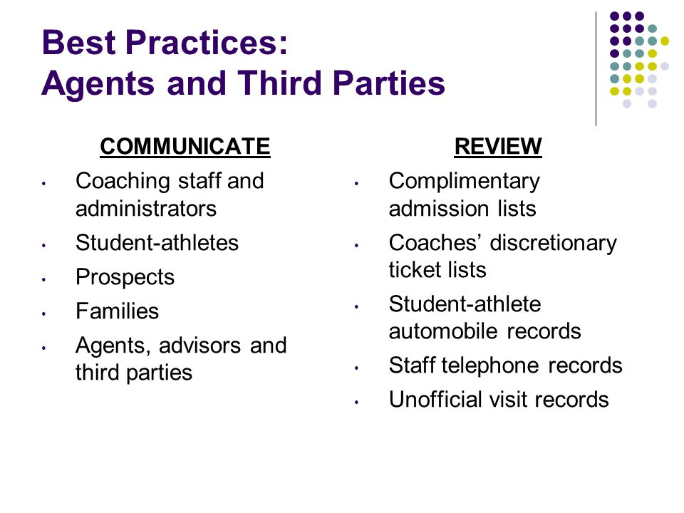 Best Practices: Agents and Third Parties