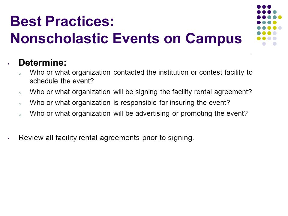 Best Practices: Nonscholastic Events on Campus