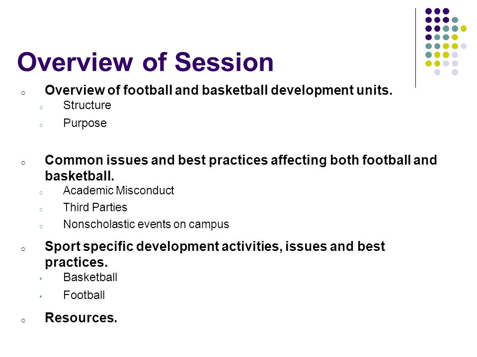 Overview of Session Overview of football and basketball development units. Structure. Purpose.