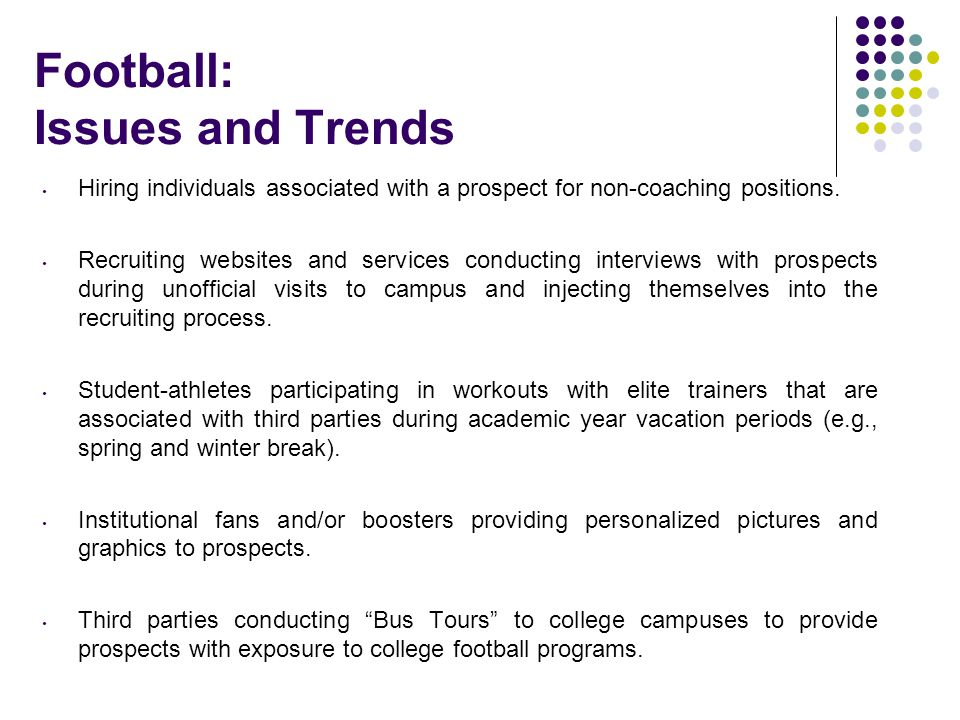 Football: Issues and Trends
