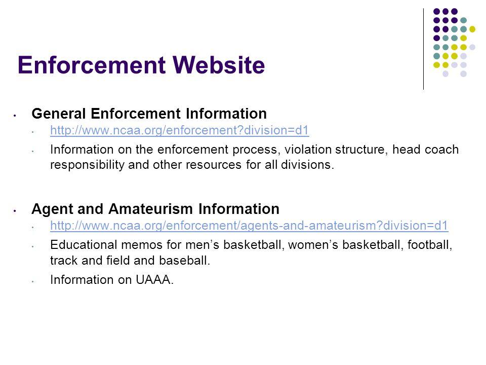 Enforcement Website General Enforcement Information