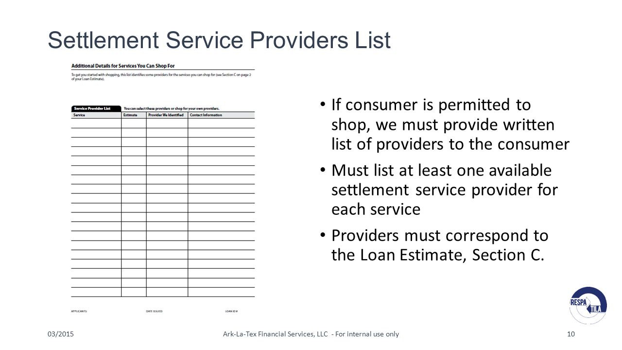 Settlement Service Providers List