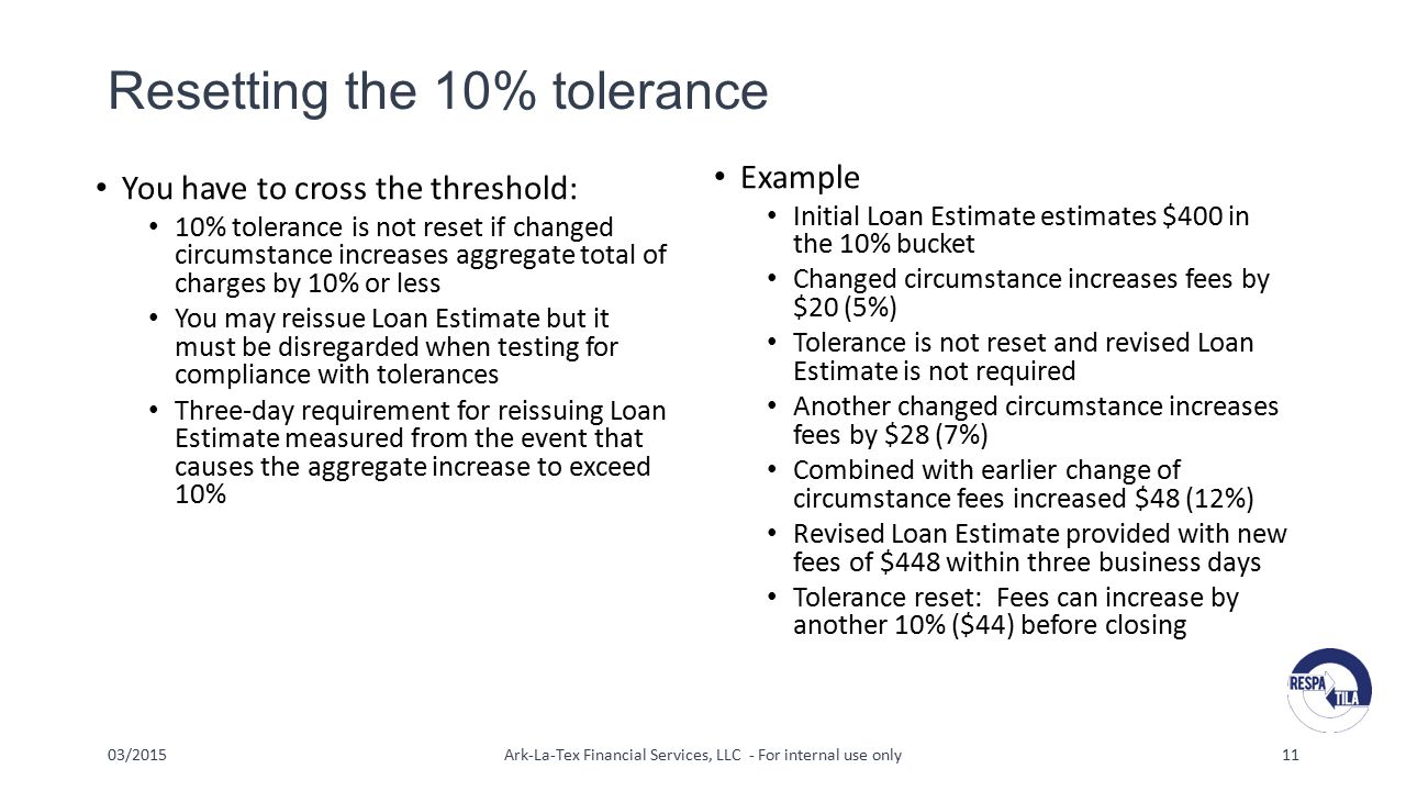 Resetting the 10% tolerance