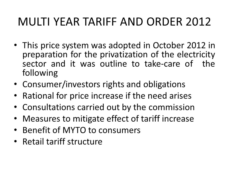 MULTI YEAR TARIFF AND ORDER 2012