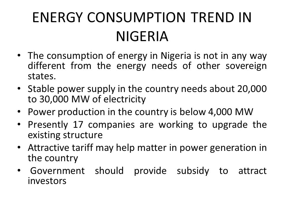 ENERGY CONSUMPTION TREND IN NIGERIA