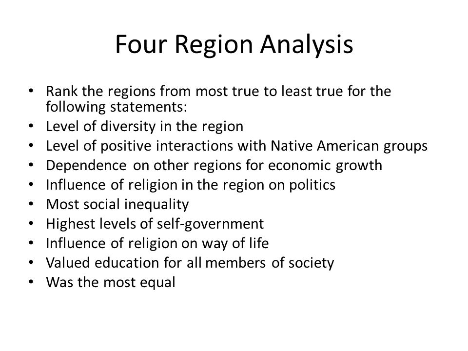 the columbian exchange period ppt  four region analysis rank the regions from most true to least true for the following statements