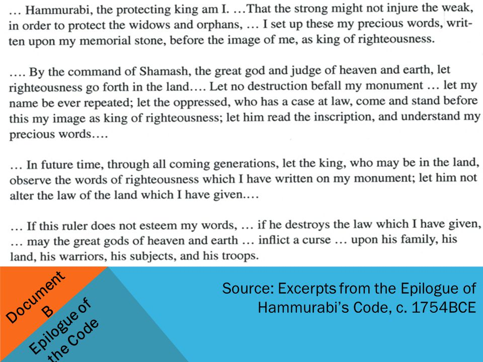 hammurabi s code was it just ppt video online  15 document b epilogue of the code source excerpts from the epilogue of hammurabi s code c 1754bce