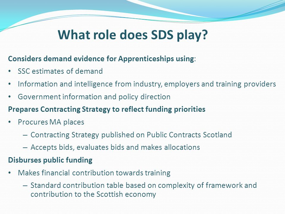 What role does SDS play Considers demand evidence for Apprenticeships using: SSC estimates of demand.