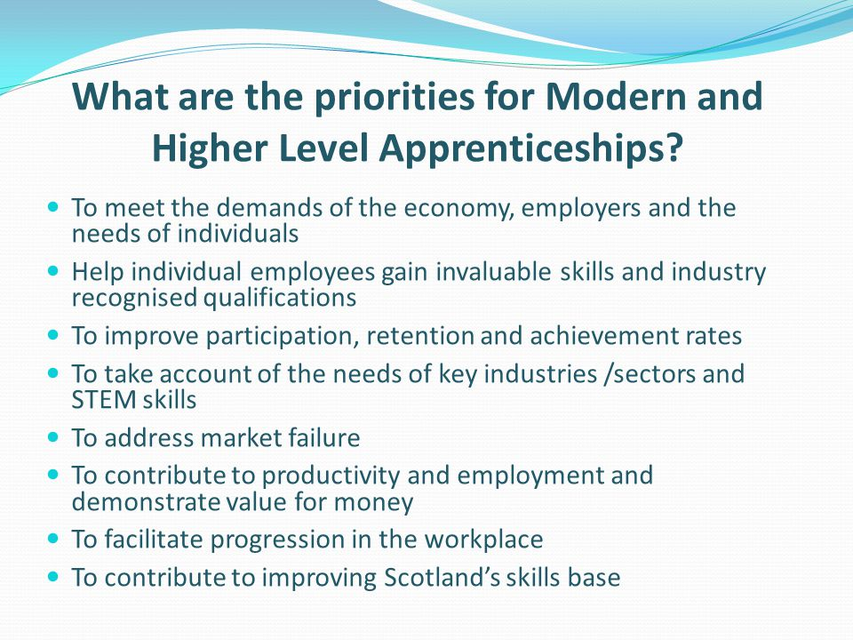 What are the priorities for Modern and Higher Level Apprenticeships