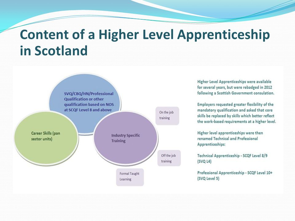 Content of a Higher Level Apprenticeship in Scotland