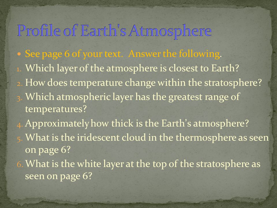 Profile of Earth s Atmosphere