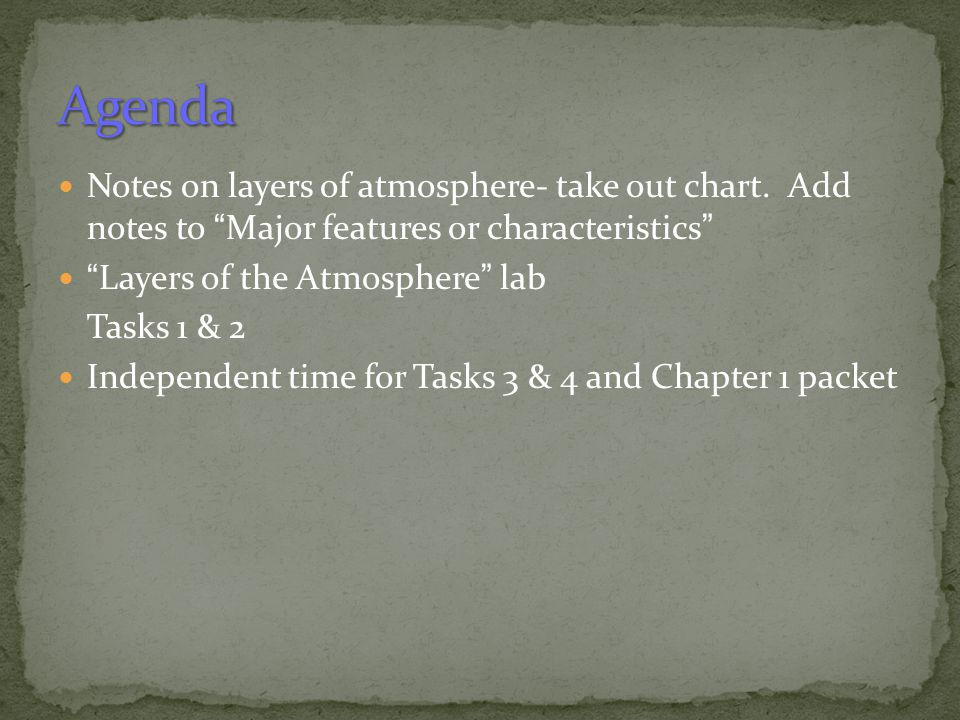 Agenda Notes on layers of atmosphere- take out chart. Add notes to Major features or characteristics