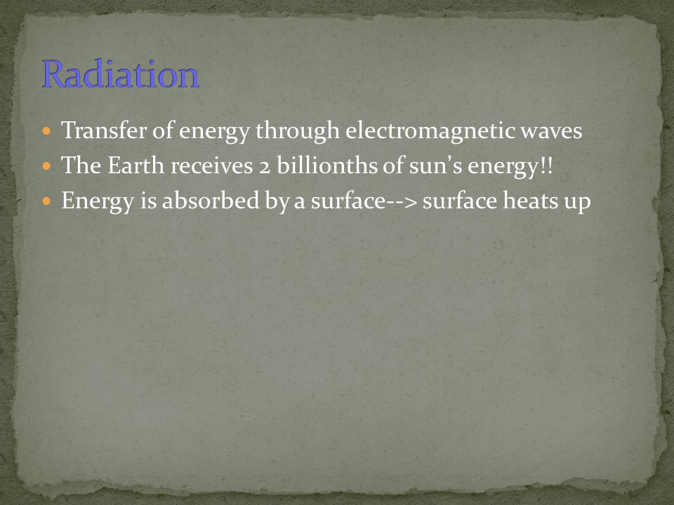 Radiation Transfer of energy through electromagnetic waves