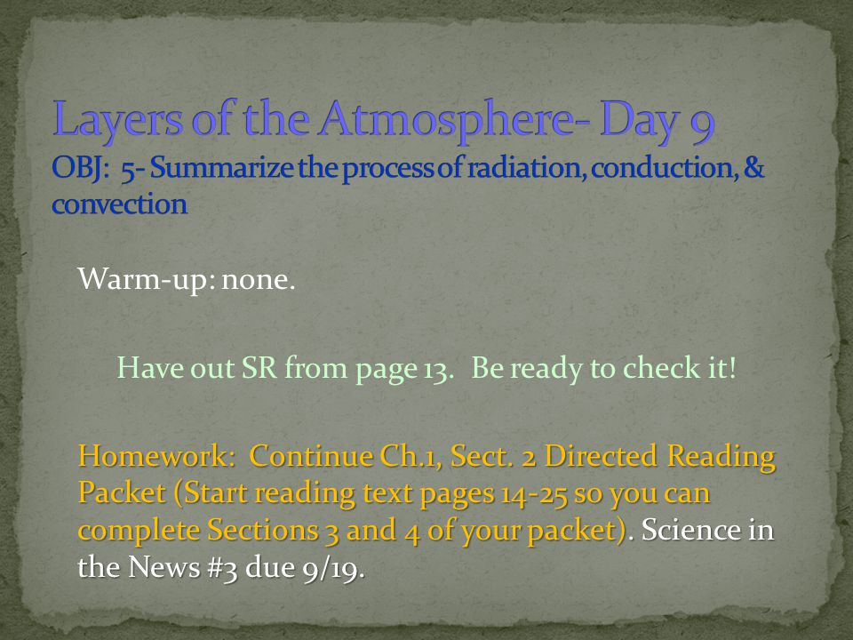 Layers of the Atmosphere- Day 9 OBJ: 5- Summarize the process of radiation, conduction, & convection