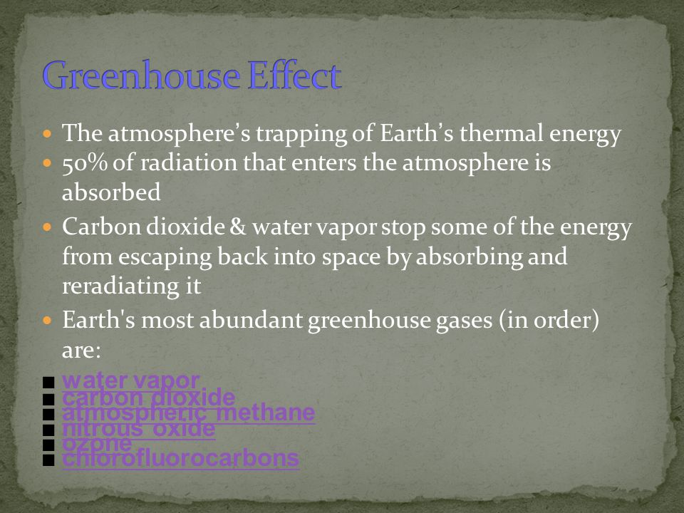 Greenhouse Effect The atmosphere's trapping of Earth's thermal energy