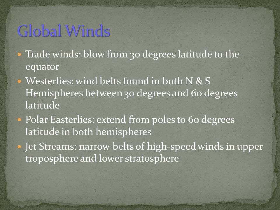 Global Winds Trade winds: blow from 30 degrees latitude to the equator