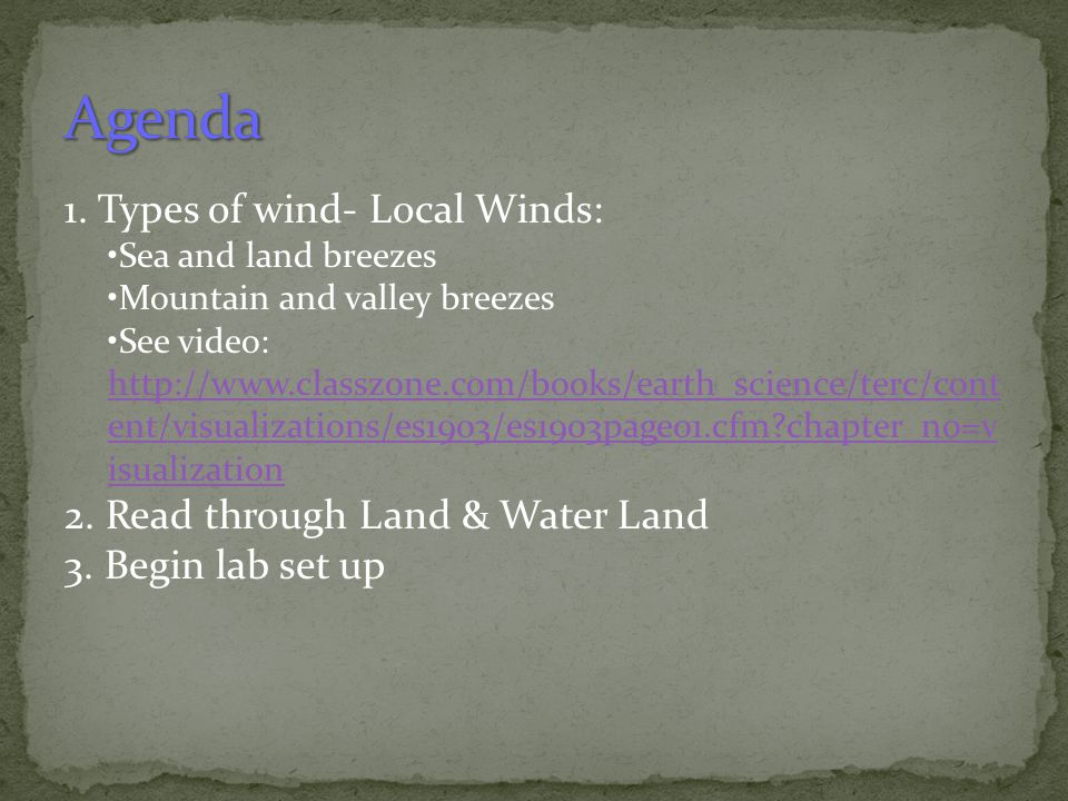 Agenda 1. Types of wind- Local Winds: