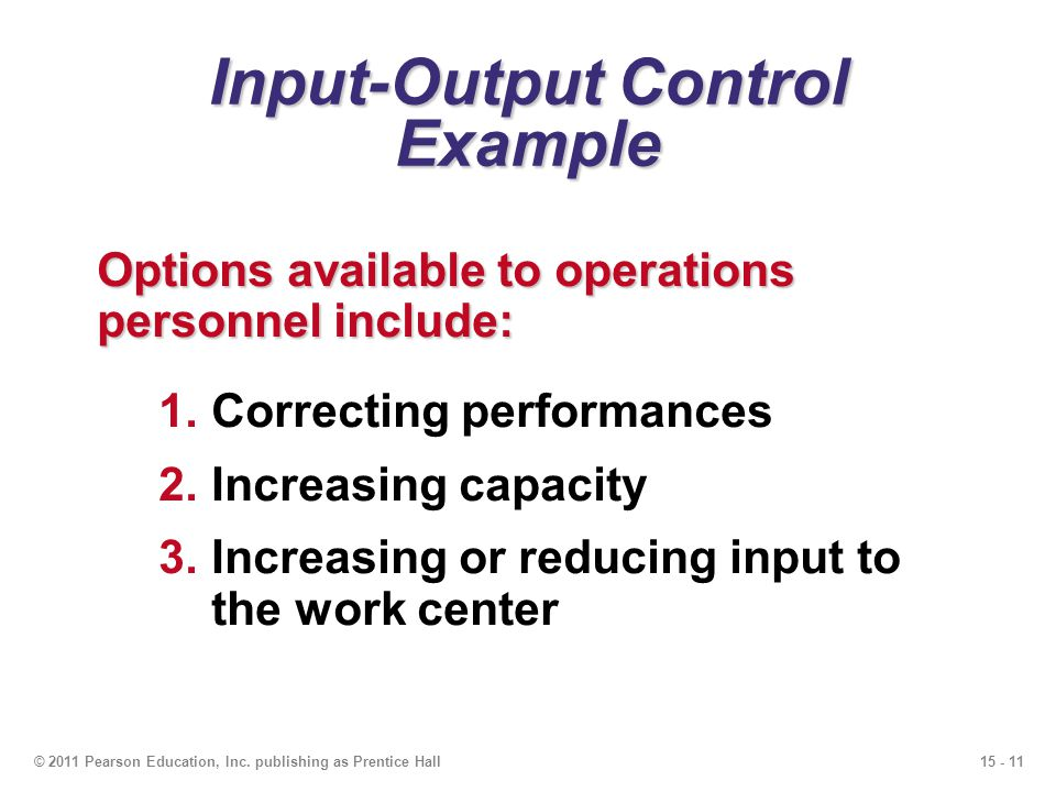 Input-Output Control Example