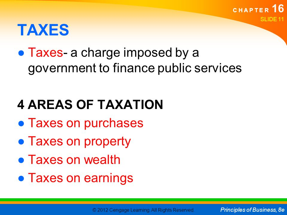 TAXES Taxes- a charge imposed by a government to finance public services. 4 AREAS OF TAXATION. Taxes on purchases.