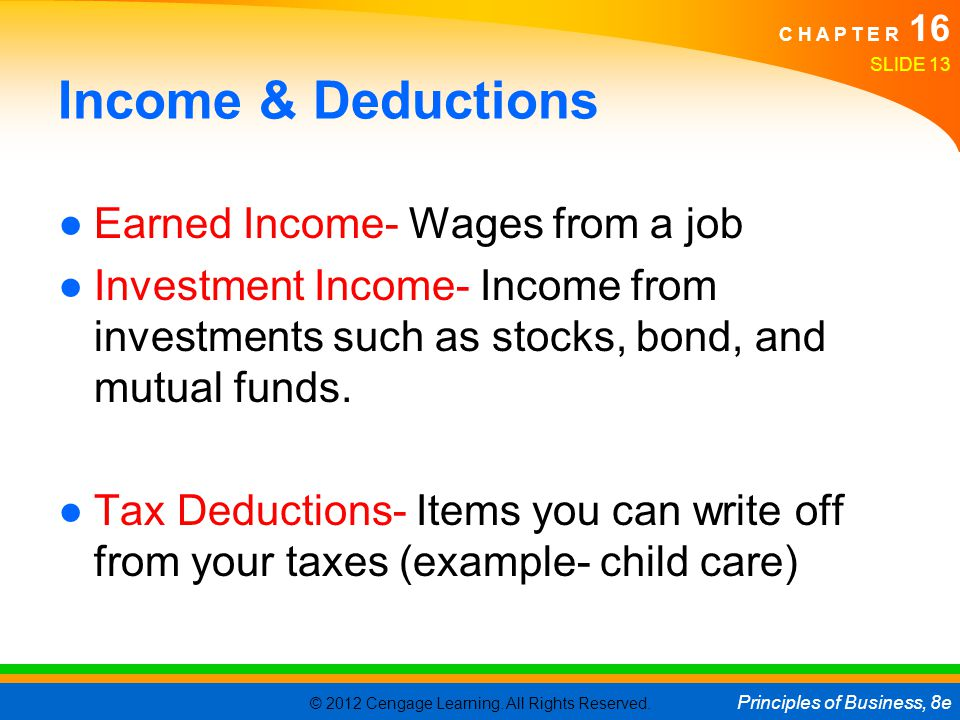 Income & Deductions Earned Income- Wages from a job