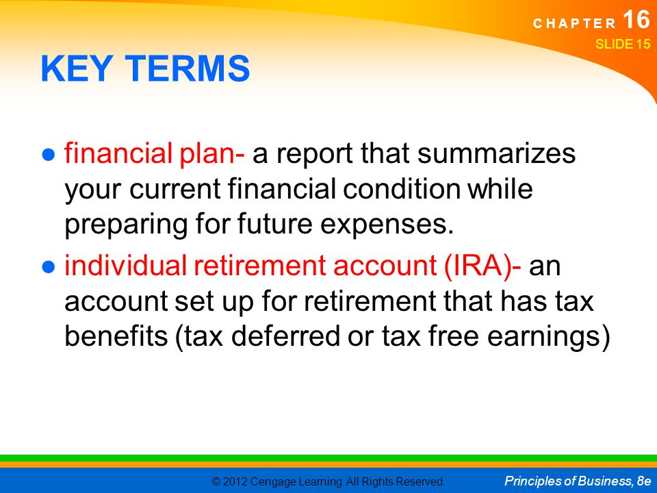KEY TERMS financial plan- a report that summarizes your current financial condition while preparing for future expenses.