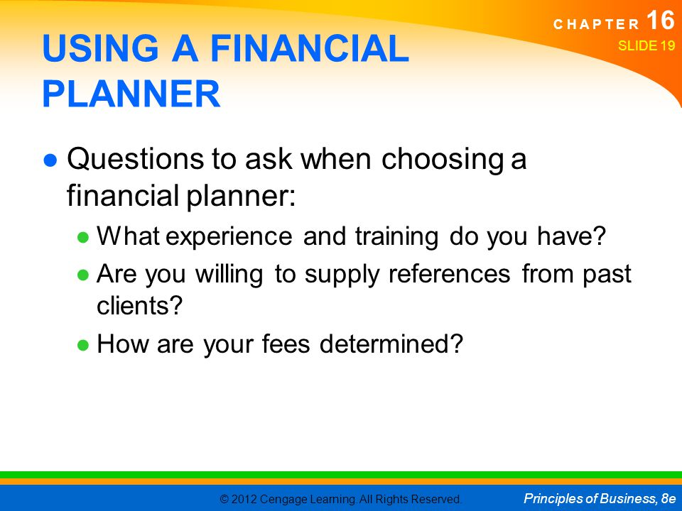 USING A FINANCIAL PLANNER