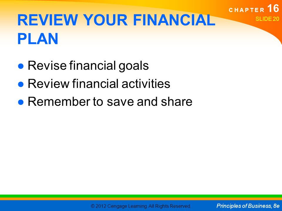 REVIEW YOUR FINANCIAL PLAN